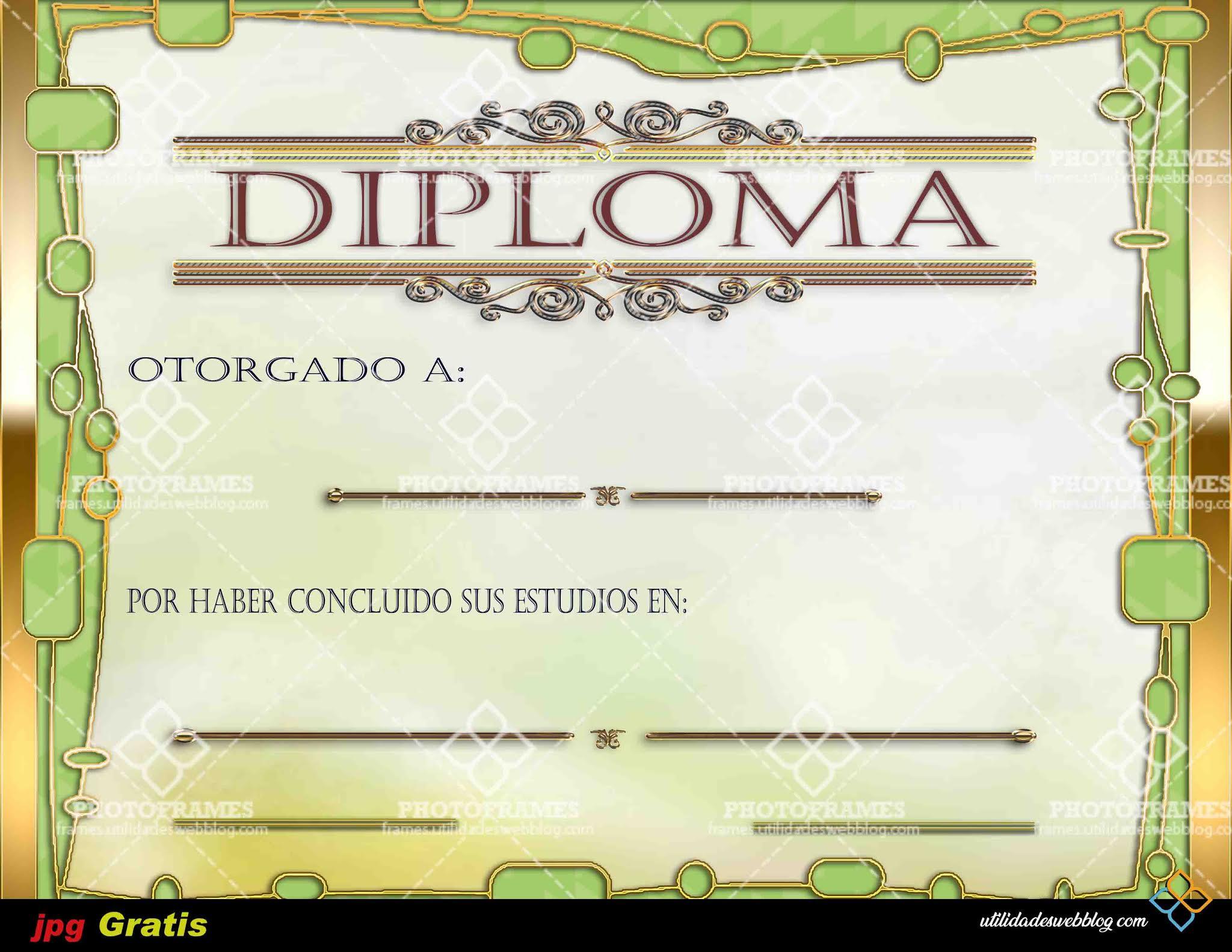 Diploma infantil color verde y dorado con motivo a fin de curso