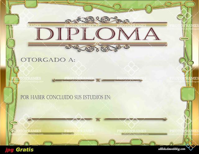 Diploma color verde y dorado con motivo a fin de curso