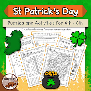 The Puzzle Den - St Patrick's Day puzzles for grades 4-6