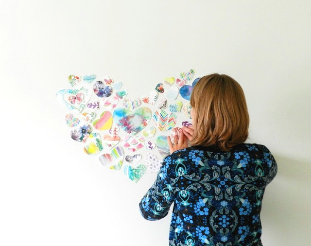 Recycled Watercolor Painting Heart Collage: grow creative