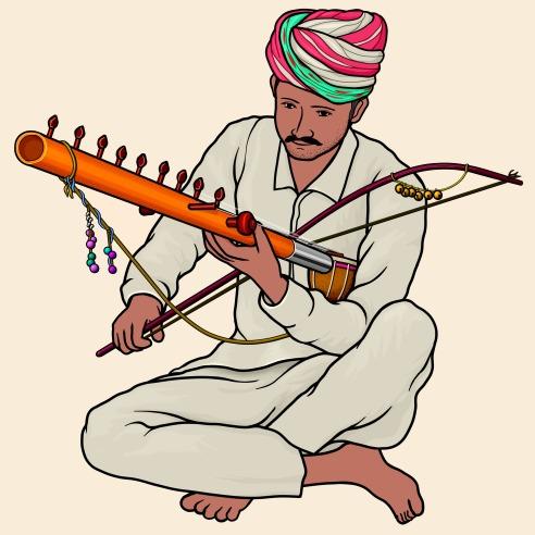 ラバナハッタ ラーヴァナハッタ Ravanhatta (Ravanahatha) を演奏する人のイラスト