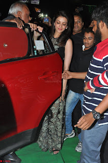 Kajal Aggarwal in lovely Black Sleeveless Anarlaki Dress in Hyderabad at Launch of Bahar Cafe at Madinaguda 053.JPG