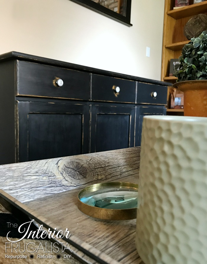 Wax Puck Distressed Painted Cabinet With Vignette