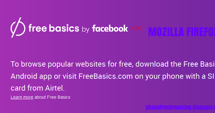 Browse Airtel free basics by facebook on Mozilla Firefox