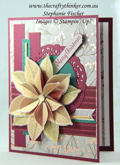 #thecraftythinker  #stampinup  #poinsettia  #christmascard  #cardmaking  #joyousnoel , poinsettia card, layering, Christmas card, Joyous Noel, Stampin' Up Australia Demonstrator, Stephanie Fischer, Sydney NSW