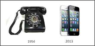 1954 rotary phone and iPhone