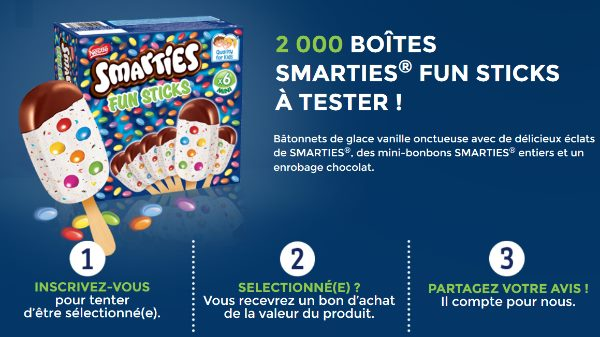 Testeur de Produit 2000 Packs SMARTIES® Fun Sticks à tester !