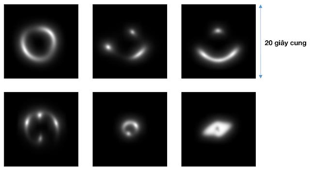 Đây là hình ảnh mà các nhà thiên văn sử dụng để luyện cho trí tuệ nhân tạo cách nhận diện thấu kính hấp dẫn trong thực tế. Hình ảnh: Enrico Petrillo/Rijksuniversiteit Groningen/Astronomie.nl.