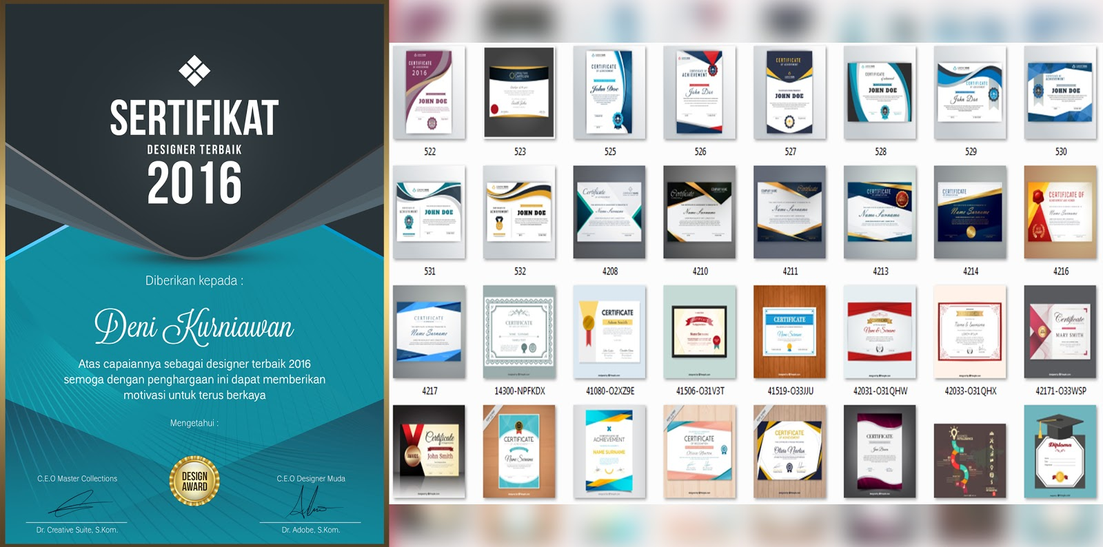 download template sertifikat