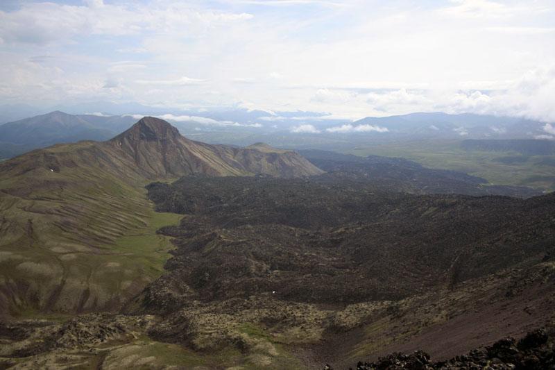 лавовый поток вид с вулкана камчатка