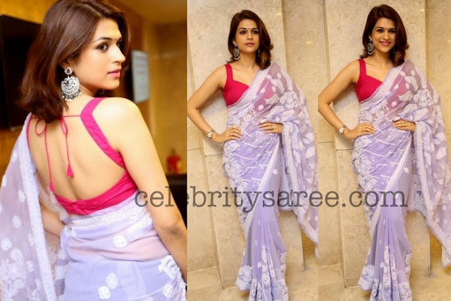 Shradda Das Violet Color Thread Work Saree