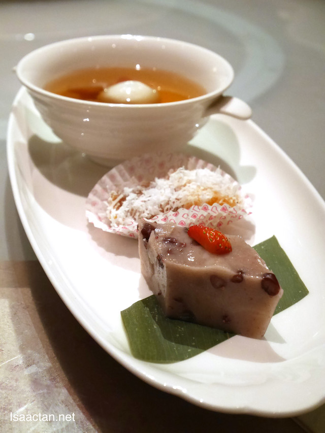 Sweetened Ginger Soup with Black Sesame Dumplings , Combination of steamed Ninko with shredded coconut and Chilled Red Bean Cake