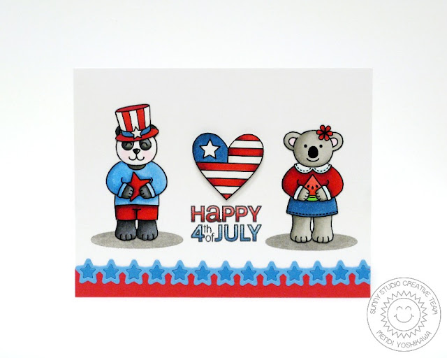 Sunny Studio Stamps: Stars & Stripes Patriotic 4th of July Card by Mendi Yoshikawa
