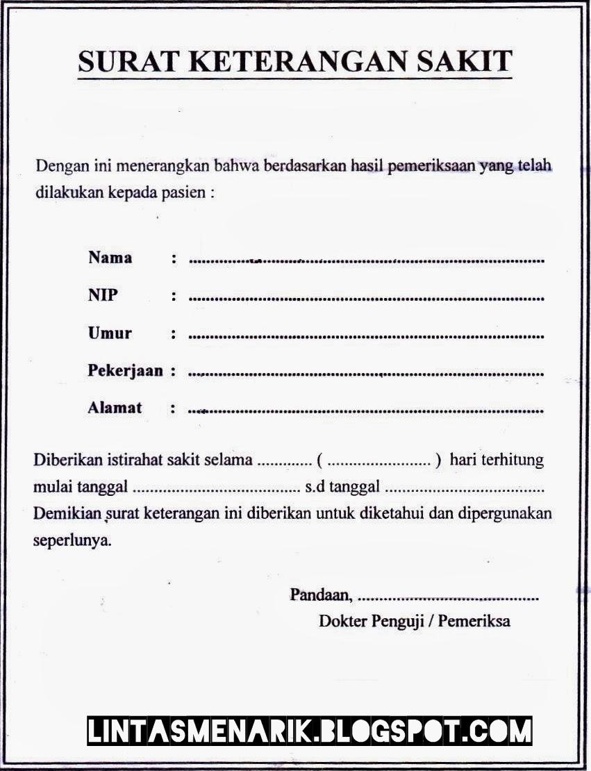 Gudangnya Surat Formal Contoh Surat Keterangan Sakit Edisi