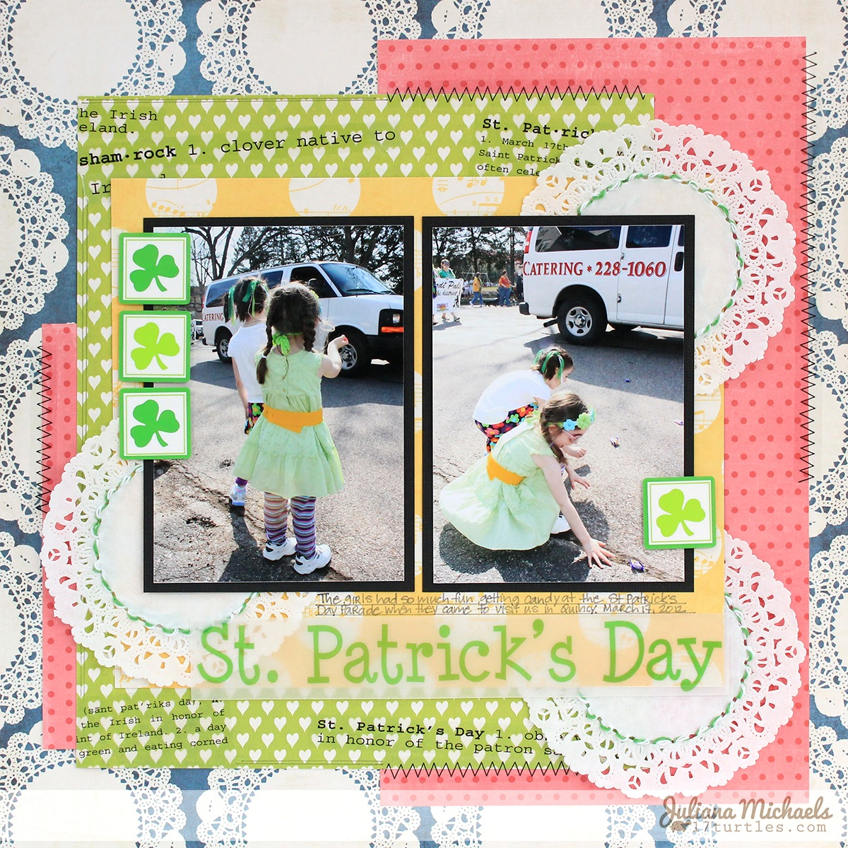 SRM Stickers Blog - Crazy for Doilies Layout by Juliana - #layout #St Pattick's #doily #twine #stickers