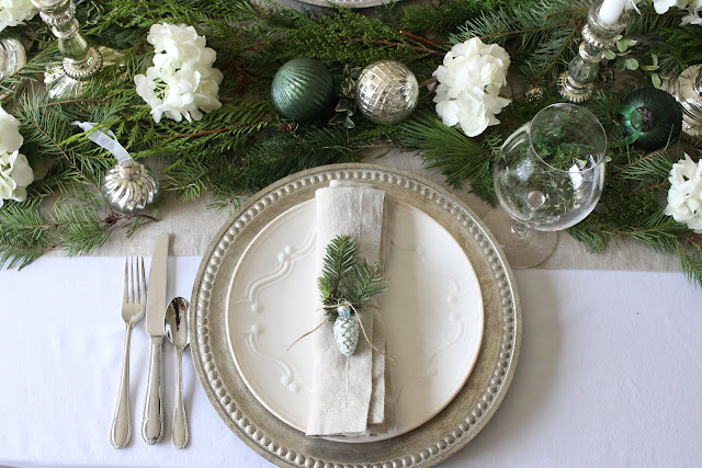 holiday tablescape neutrals silver greens