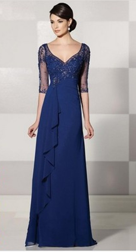 1/2 Sleeve V-neck Royal Blue Chiffon Tulle with Beading Floor-length Evening Dress -Price: $144.22 (56.0% OFF)