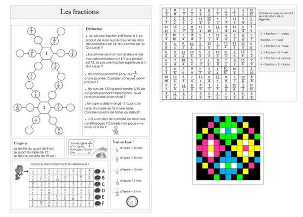 Coloriage Magique Encadrer Des Fractions.Remue Meninge Jeux Enigmes Sur Les Fractions