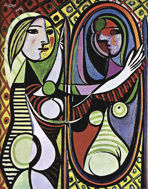 A Pablo Picasso painting of a woman at her mirror