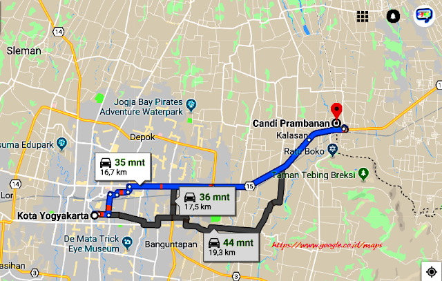 Peta Lokasi Candi Prambanan Yogyakarta