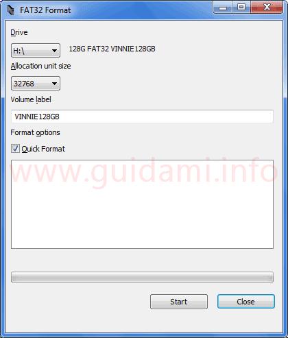 Programma FAT32 Format interfaccia grafica