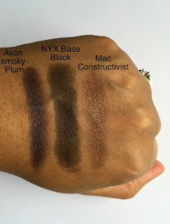 Avon Extra Lasting Eyeshadow Pencil in Smoky Plum, NYX Eyeshadow Base in Black, and Mac Paint Pot in Constructivist swatched on dark skin