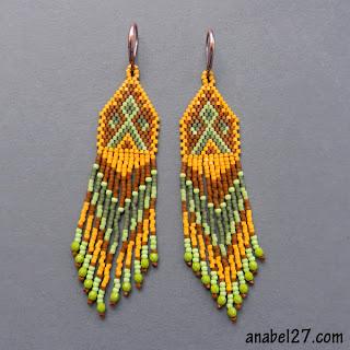 этно-серьги из делики - украшения из бисера ручной работы