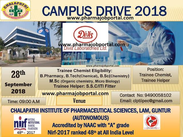 Divis Labs Walk In Drive For Freshers B.Sc, ITI, SSC, B.Pharm, B.Tech, M.Sc at 28 Sep