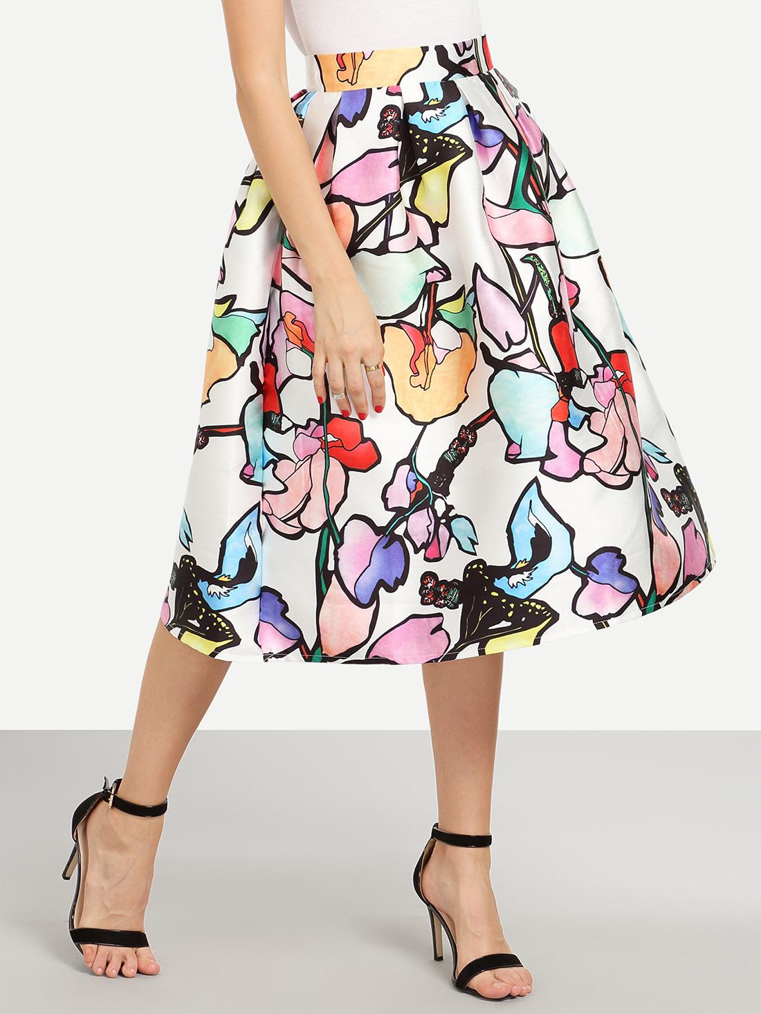 Multicolor Branch Print Box Pleated Midi Skirt
