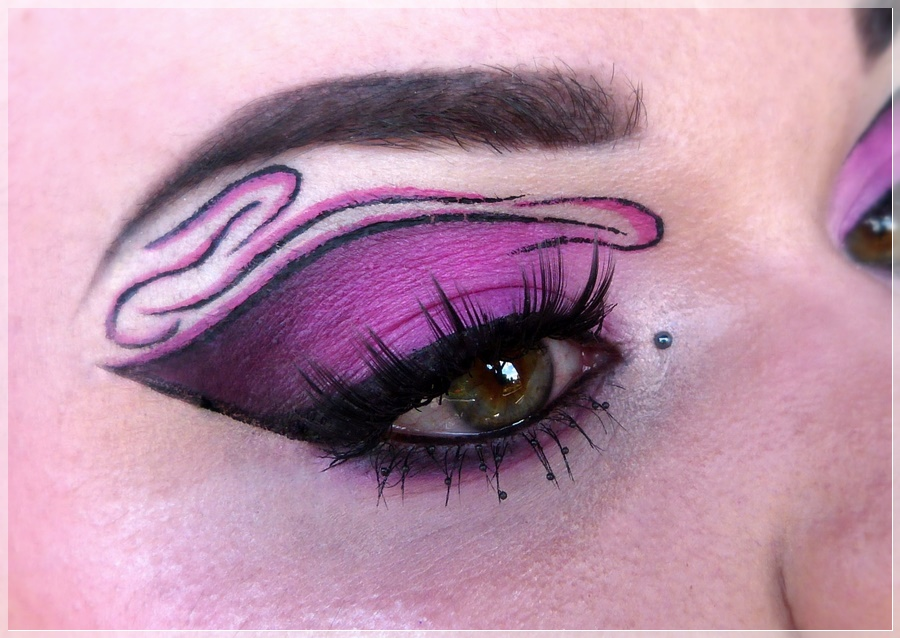 creative pink black make up