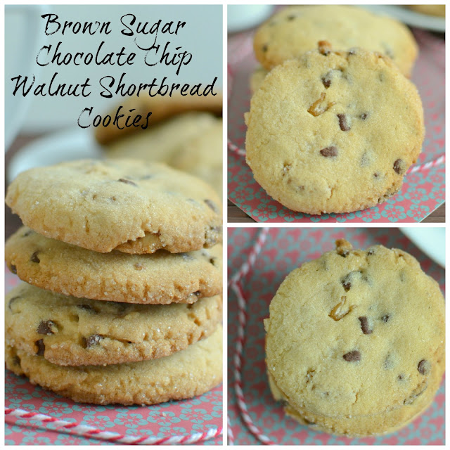 A delicious and buttery cookie that's great for cookie exchanges, holidays or even an after school snack! Brown Sugar Chocolate Chip Walnut Shortbread Cookies Recipe Plus 5 Best Holiday Chocolate Recipes from Hot Eats and Cool Reads