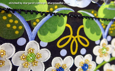 Bead Embroidery with Thread Painting: First element with blue shading. (Wild Child Japanese Bead Embroidery by Mary Alice Sinton)