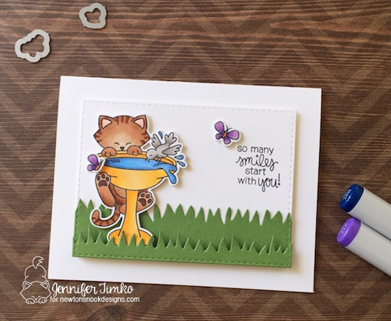 Cat on Birdbath Card by Jennifer Timko | Newton's Birdbath Stamp set by Newton's Nook Designs #newtonsnook