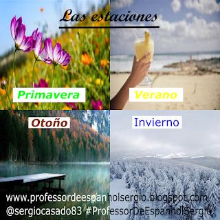 as estaçoes em espanhol: primavera, verano, otoño, invierno