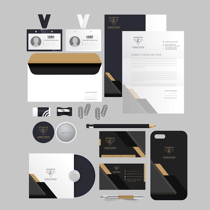 Business identity sets elegant black white contrast decor Free vector