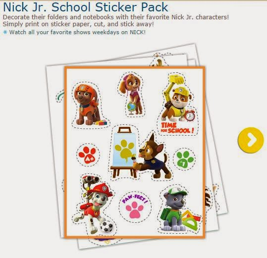 Paw Patrol Free Printable School Sticker Pack.