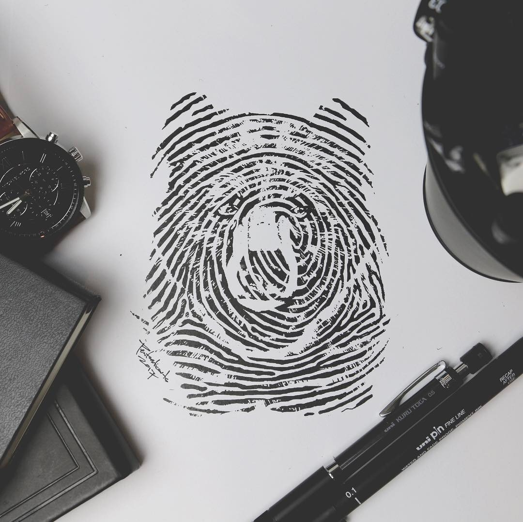 08-Bear-Fingerprint-Joseph-Catimbang-Doodle-Drawings-make-the-World-go-Round-www-designstack-co