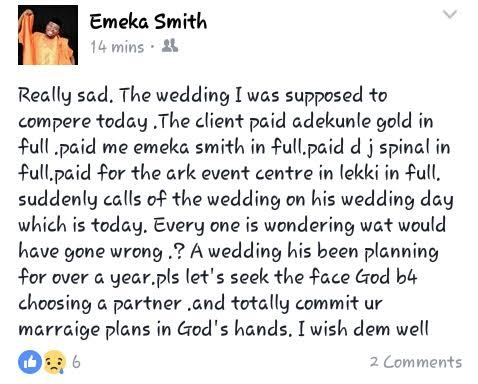See photos from the wedding Emeka Smith said was cancelled today (here)