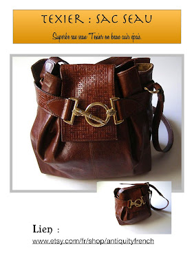 vintage bag texier,sac cuir femme,sac cuir français,sac texier