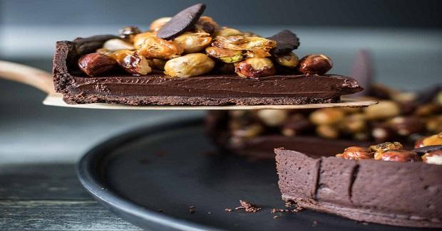 Hazelnut Pistachio Chocolate Ganache Tart Recipe