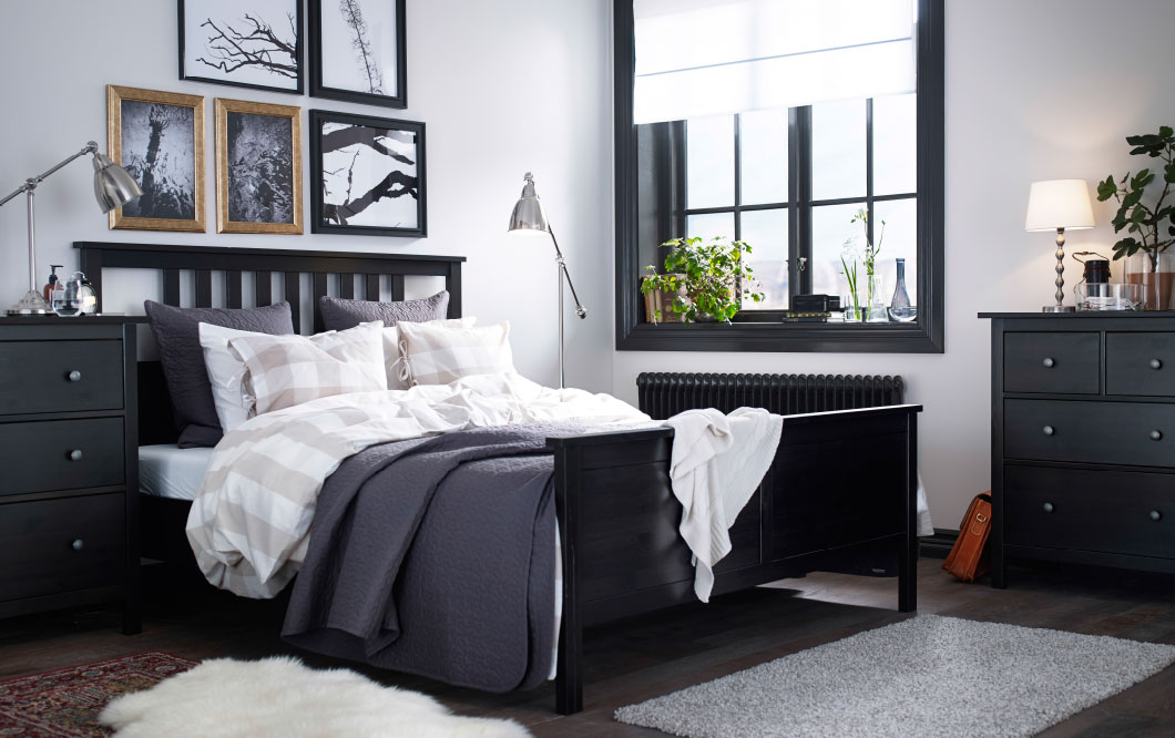 Wohnideen Großes Schlafzimmer ein großes schlafzimmer mit hemnes bettgestell in schwarzbraun