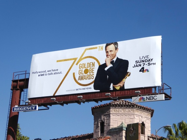 Seth Meyers 75th Golden Globe Awards billboard