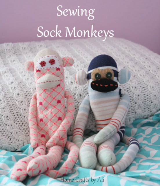 Sew sock monkeys using colorful patterned socks