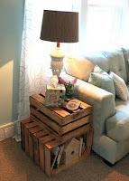 Cajones de madera reciclados para mueble de la sala de estar