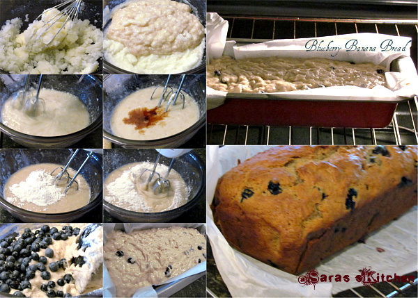 Eggless blueberry banana bread