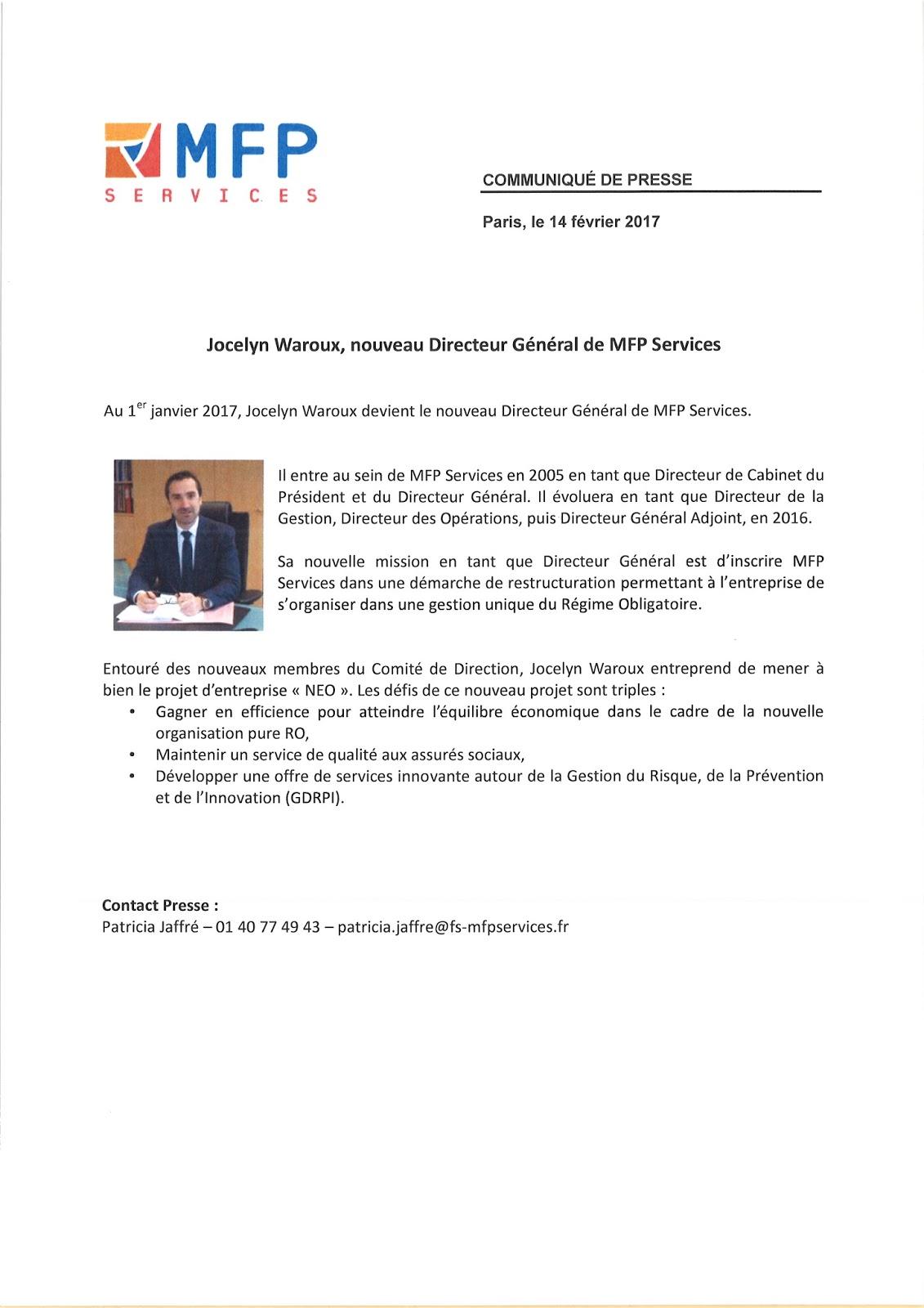 MINE D\'INFOS: Jocelyn Waroux nommé Directeur général de MFP Services