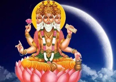 wallpaper brahma bhagwan with blue background