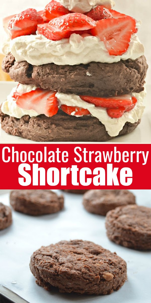 Chocolate Strawberry Shortcake is the best recipe from scratch! Homemade Chocolate Biscuits are covered with fresh strawberries and whipped cream for a great dessert recipe from Serena Bakes Simply From Scratch.