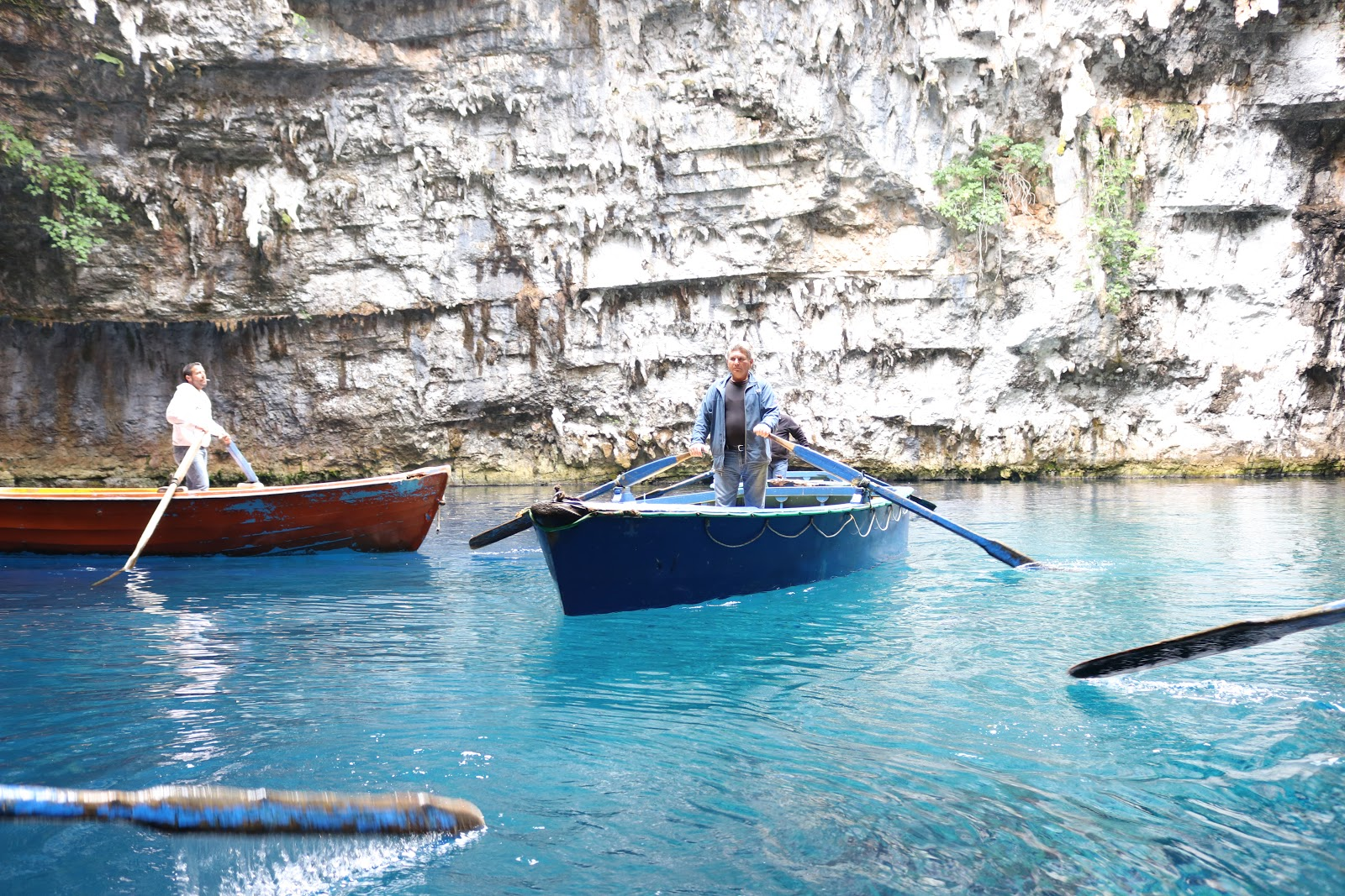 Boats in the Melissani Cave, Kefalonia