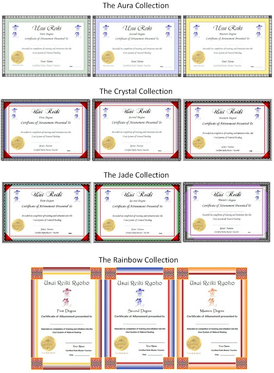 Reiki certificate templates for Reiki level 1 certificate template